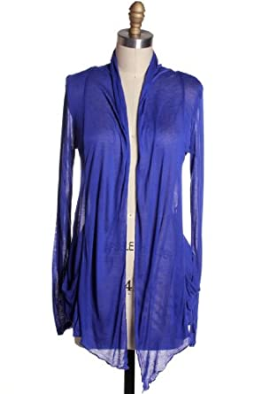 Active Products Women's Basic Comfortable Soft Easy Wear Cardigan Shawl Top,Small,Blue
