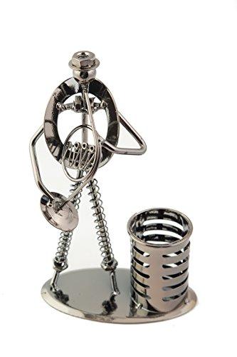 Figur-aus-Stahl-Corno-Stahlfigur-Waldhorn-14-x-24-cm-praktische-Stiftebox-Ordnung-Schreibtisch-Musik-Musikinstrument-Geschenk-Bro-Arbeit-Box-fr-Stifte-Schreibtischdeko-Dekoration-frs-Bro-Musikbegeiste