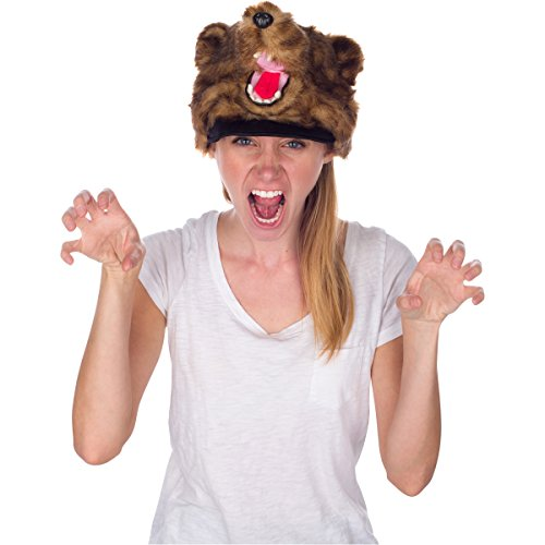 Brown Grizzly Bear Animal Hat, Realistic Plush Costume Headwear