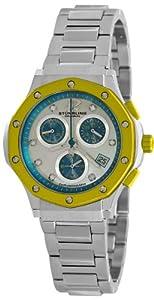 Stuhrling Original Women's 180.121122 Aquadiver Cosmo Quartz Chronograph Date Swarovski Crystal Mother of Pearl Dial Watch