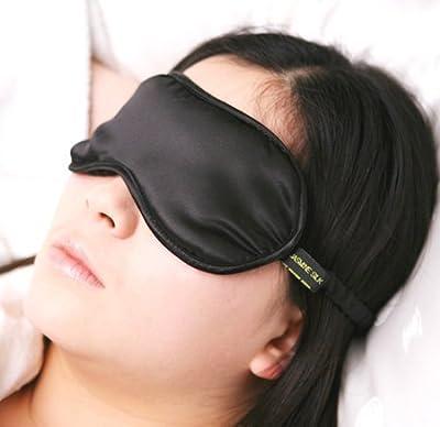 Jasmine Silk 100% Pure Silk Filled Eye Mask / Sleeping Mask Sleep Mask - BLACK by JASMINE SILK