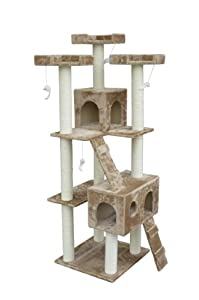 "Pawhut 71"" Cat Tree Furniture Pet Tower House with Scratch Post and Condo"