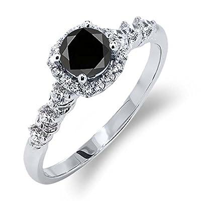 0.97 Ct Round Black Diamond White Topaz 925 Silver Engagement Ring