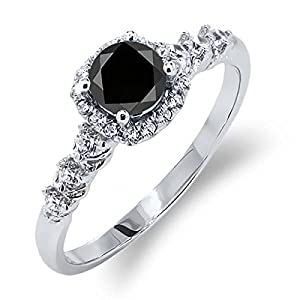 0.97 Ct Round Black Diamond White Topaz 925 Sterling Silver Ring