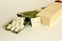 BOUQUET OF ROSES, Elegantly Wrapped, Presented in a Charming Gift Box (Includes a Handsome Blank Card); Unbelievably Natural Look and Feel, See Size and Color Options (Classic Bouquet, Cream White)