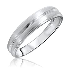 buy Traditional No Diamond, 5 Millimeter, 14K White Gold Men'S Wedding Band- Size 12.75