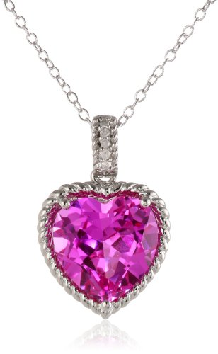 Sterling Silver Created Pink Sapphire And Diamond Heart Pendant Necklace (.02 Cttw, G-H Color, I2-I3 Clarity), 18""