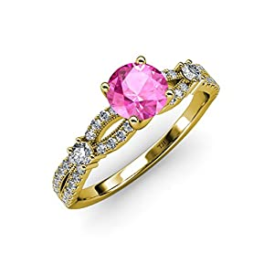 Pink Sapphire and Diamond Split Shank Engagement Ring 1.40 ct tw in 14K Yellow Gold.size 9