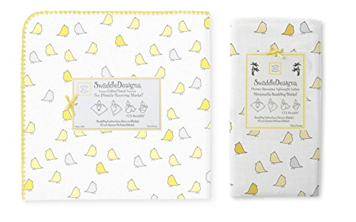 Swaddle Designs Ultimate Flannel & Marquisette Swaddle Baby Blankets, Little Chickies Yellow