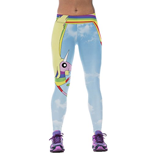 Likable Rainbow Horse Bright Sky Leggings Ornate Costume Tightfitting