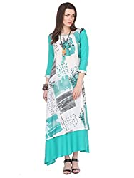Riti Riwaz Rayon Turquiose Printed Round 3/4 Sleeve Long Dress MNMAW16101117-M_