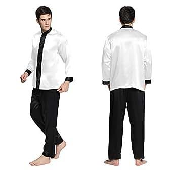 Lilysilk mens silk pajamas white xxl big and tall 22mm at for Mens xxl tall dress shirts