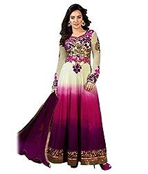 Fstore Purple embroidered georgette semistitched salwar suit
