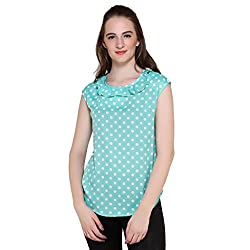 Mallory Winston Light Green Women's Sleeveless Ruffle Top