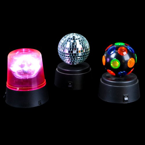 Set Of 3   Small Battery Operated Disco Party Lights   Beacon Light, Disco  Ball Light And Disco Light Set