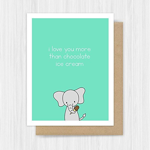 Anniversary Love Card Funny Elephant Handmade Greeting (Dove Chocolate Ice Cream compare prices)