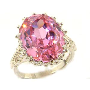 Luxury Solid White 9K Gold Large 16x12mm Oval 13ct Synthetic Pink Sapphire Ring - Size 9.75 - Finger Sizes 5 to 12 Available - Suitable as an Anniversary ring, Engagement ring, Eternity ring, or Promise ring