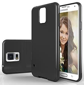 S5 Case Cover, Galaxy S5 Case Cover , E LV Samsung Galaxy S5 ULTIMATE Protection SUPER SLIM Anti-slip coat Protective TPU Case Cover for Samsung Galaxy S5 - BLACK