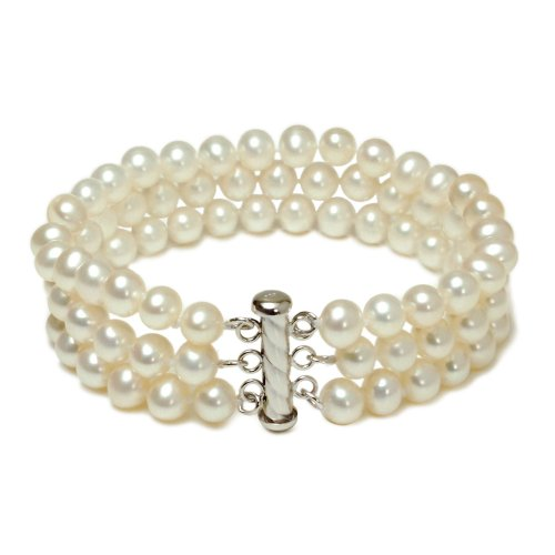 Sterling Silver 3-Row White A Grade 6.5-7mm Freshwater Cultured Pearl Bracelet, 8