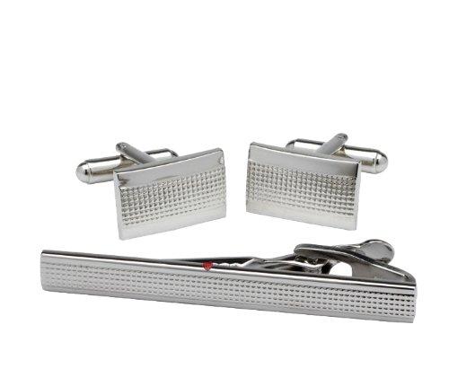 Silver Grill Cufflink & Tie Clip Set