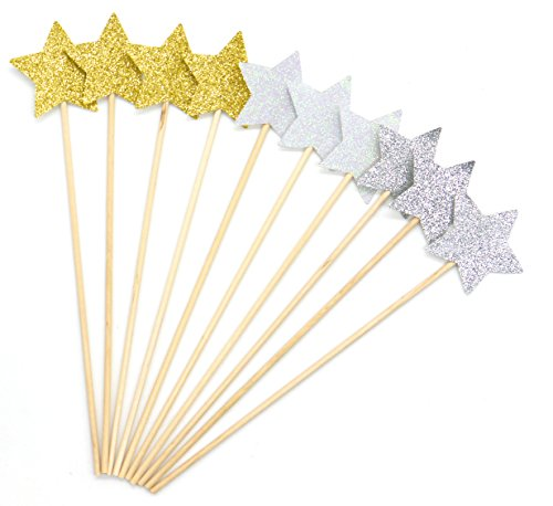 PuTwo Cake Decorations 20 Counts Star Cake Decorating Cake Toppers Sticks 20 Cm Cake