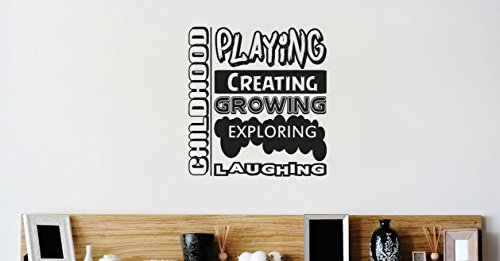Design with Vinyl 2 Zzz 208 Decor Item CHILDHOOD : Playing Creating Growing Exploring Laughing Daycare Kids School Quote Wall Decal Sticker, 16 x 16-Inch, Black