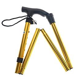 Tinksky Non-slip Adjustable Height Aluminum Alloy Folding Walking Stick Cane Travel Crutch Alpenstock (Orange)