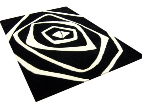 ZnZ Rugs Gallery, 2953_5x8, Handmade Off-White New Zealand Blend Wool Rug, 1, Black, 5x8'