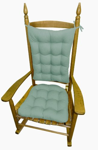 Rocking Chair Pad Set - Cotton Duck Aqua Spa - Presidential / Extra Large Rocker Seat Cushion & Back Cushion - Reversible, Tufted front-799123