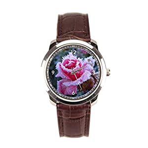 sanYout Watch Straps Leather Blossom Leather Mens Watch Rose Leather Wristband Watch Cristal