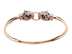 Effy Collection Panther 14k Pink Gold Black Diamond and Diamond Yellow Sapphire Bangle