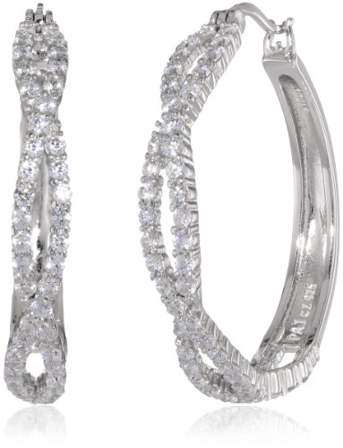 Sterling Silver Round High Quality Simulated Diamond Twisted Hoop Earrings (1.22″ Diameter)