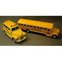 "Yellow School Bus Metal Diecast Set Of 2 (7"" Traditional Bus + 4.5"" 1950 Chevy Suburban Bus)"