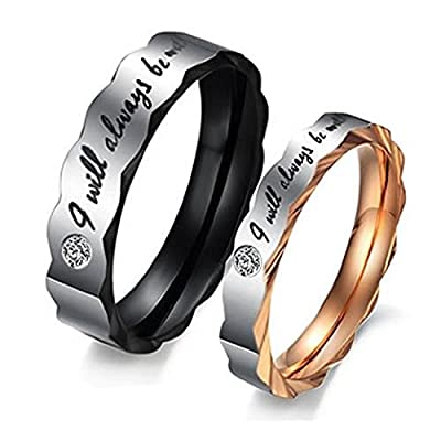 "Psiroy Jewelry Titanium Steel Love ""I Will Always Be with You"" Couples Promise Ring Wedding Bands"