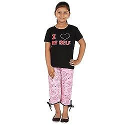 FICTIF Kid Girl's Black and Pink Color Top & Capri Set