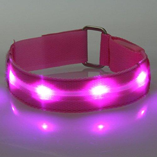 OSHIDE® 2.5cm LED Sicherheit Reflektor Armband Reflektorband Sicherheitsband Leuchte Nacht Licht für Jogger Joggen Radfahren Pink