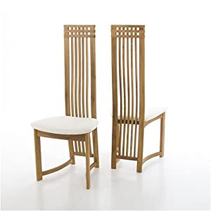 Pair Dining Chairs White Fabric On Oak Colosseum Kitchen