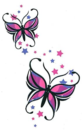 "Amazon.com: Butterfly with Stars Large Temporary Body Art Tattoos 7"" x"