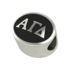 Alpha Gamma Delta Black Antique Oval Sorority Bead Charm Fits Most Pandora Style Bracelets. High Quality Bead in Stock for Fast Shipping