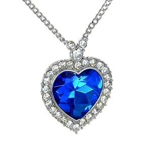 Amazon.com: Smaller Blue Titanic Heart Pendant Necklace: Costume ...