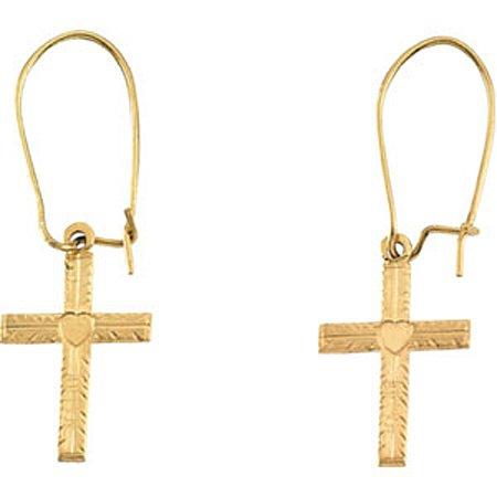 Cross Earrings - 14K Yellow Gold - 13mm x 10mm