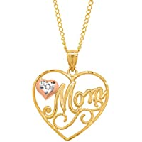 Finecraft 'Mom' Heart Pendant Necklace with Diamond in 10K (Rose & Yellow Gold)