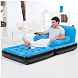 BESTWAY INFLATABLE MULTI FUNCTIONAL AIR BED CHAIR SOFA COUCH TV CAMPING MATTRESS - SINGLE BLUE