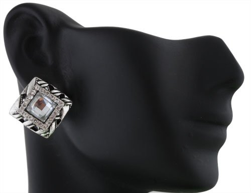 Ladies Silver Square with Silver Square Iced Out Shape Stones Clip on Earrings