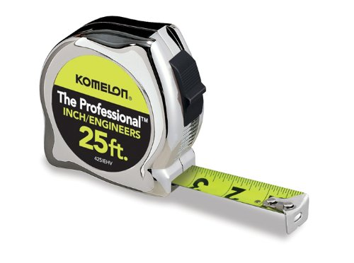 Komelon 425IEHV High-Visibility Professional Tape Measure Bother Inch and Engineer Scale Printed 25-Feet by 1-Inch, Chrome (Engineers Scale 25 compare prices)