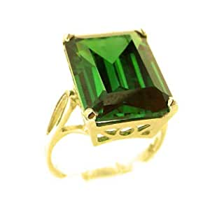 Luxury Solid 14ct Yellow Gold Large 16x12mm Octagon cut Green Cubic Zirconia CZ Ring - Size Q - Finger Sizes K to Y Available - Perfect Gift for Birthday, Christmas, Valentines Day, Mothers Day, Mom, Mother, Grandmother, Daughter, Graduation, Bridesmaid.