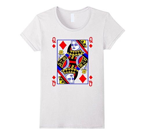 Women's Queen of Diamonds Playing Card Poker Costume Card Tee Shirt Large White (Playing Card Costumes)