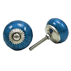 Hand painted blue ceramic knobs drawer cabinet pull for Painted ceramic cabinet knobs