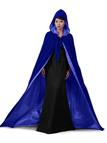 PingFeng Halloween Wedding Cloak Blue Velvet Hooded Cape Blue Satin Wicca SCA