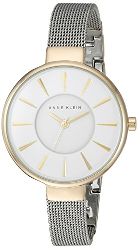 Anne Klein Women's Quartz Watch with White Dial Analogue Display and Silver Alloy Bracelet AK/N2443WTTT